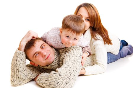 Mom, dad and cute kid making a family photo Stock Photo - 6367997