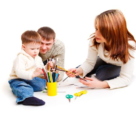Parents drawing together with their toddler son Stock Photo - 6453440