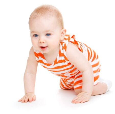 Swwet kid crawling, isolated Stock Photo - 6453442