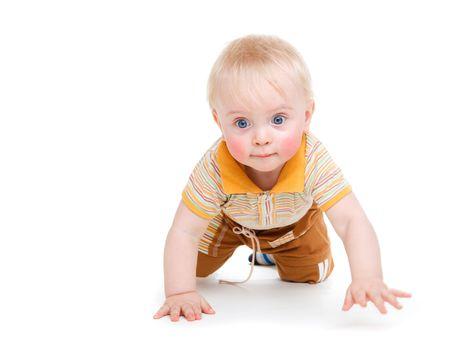 Sweet kid crawling, isolated photo