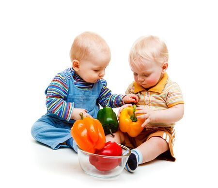 interested baby: Two baby boys leading healthy life Stock Photo