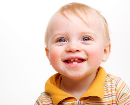 smiling teeth: A cute blond  baby, laughing, over white