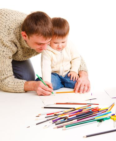 Dad drawing together with his little son Stock Photo - 6453492