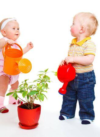 Dos niños lindos, una planta de riego