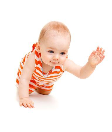 Sweet kid crawling, isolated Stock Photo