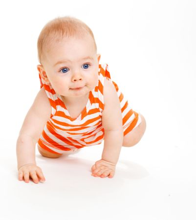 Sweet kid crawling, isolated Stock Photo - 6536844