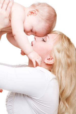 Mom playing with baby son, over white Stock Photo - 6553661