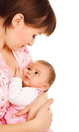 quiet adult: Serene time for mom and baby, over white Stock Photo