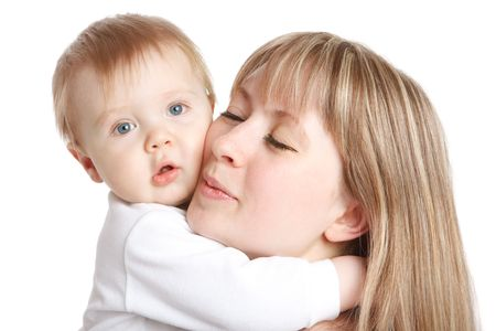 A portrait of baby embracing his lovely mom Stock Photo - 6838709