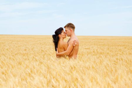 Loving couple embracing in the wheat field photo
