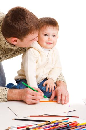 Dad drawing together with  his little son Stock Photo - 6838654