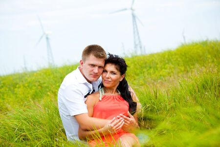 Portrait of a man and woman in the meadow Stock Photo - 6838656