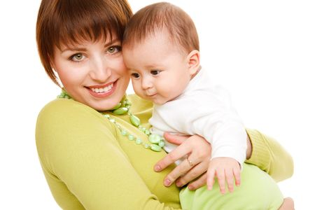A happy woman embracing her baby, over white photo