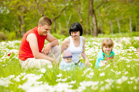 Beautiful happy family having fun on the meadow Stock Photo - 7001567