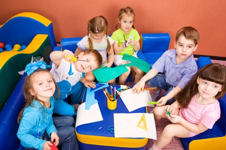 Art and craft activity in the kindergarten photo