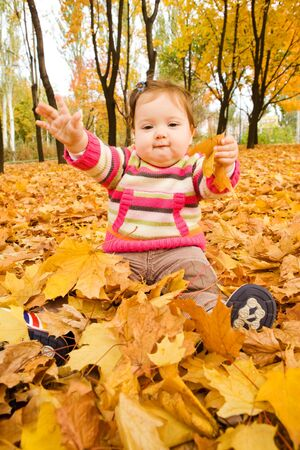 Cheerful baby girl playing with autumnal leaves photo