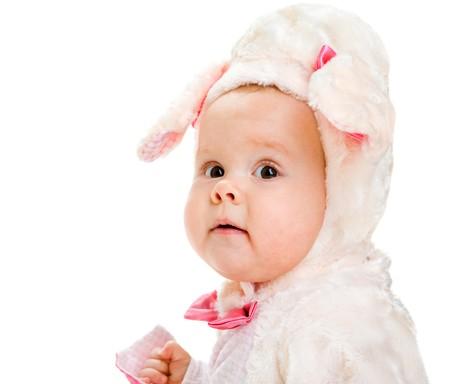 Portrait of a cute girl in a little lamb costume photo