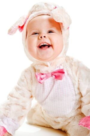 Portrait of a laughing baby lamb photo