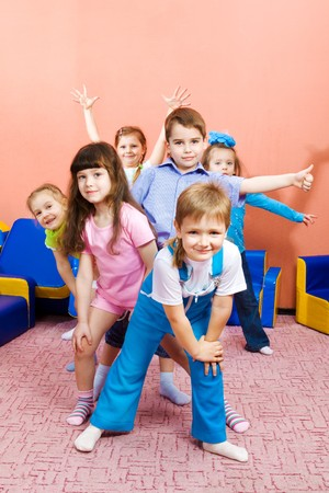 Group of joyful preschool kids photo