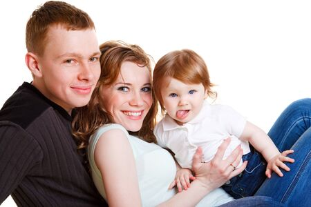 Portrait of young parents and baby photo