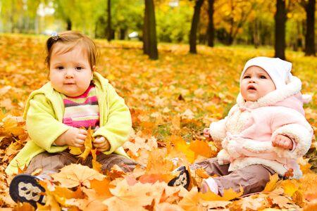 lovely girl: Baby girls having fun on yellow leaves Stock Photo