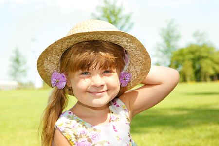 Two sweet kids in straw hats Stock Photo - 7498605