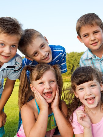 Preschool friends laughing Stock Photo - 7498418