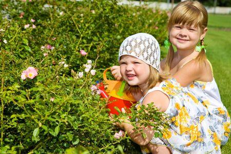 petites fleurs: Deux enfants sweet arrosage des fleurs dans le jardin Banque d'images