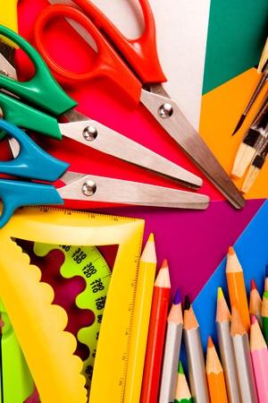 Pecils, scissors, rulers, paintbrushes on cardboard Stock Photo - 7596087