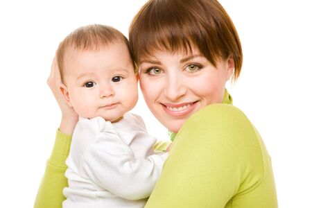 Portrait of happy mom and baby Stock Photo - 7596082