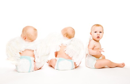 Three baby angels with the white wings photo