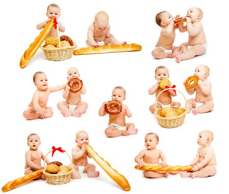 Babies with buns and bread collection photo