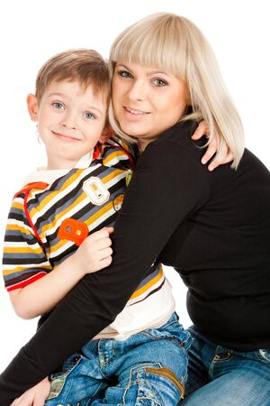 Preschool son embracing his mother Stock Photo - 7706410