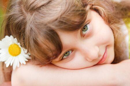 Portrait of a serene preschool girl looking at camera Stock Photo - 7706416
