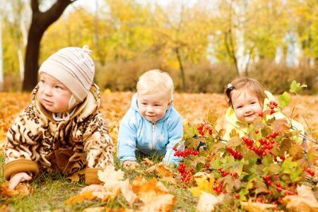 Three happy babies team in autumn park photo