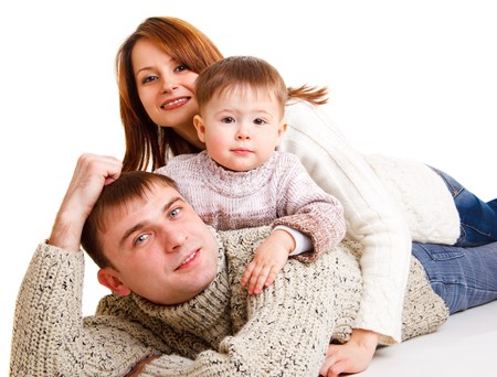 Mom, dad and cute kid making a family photo Stock Photo - 7801599