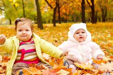 Sweet little kids playing with yellow leaves photo