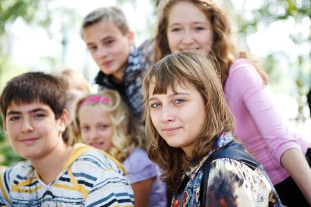 Teens crowd in the outdoor Stock Photo - 7848576