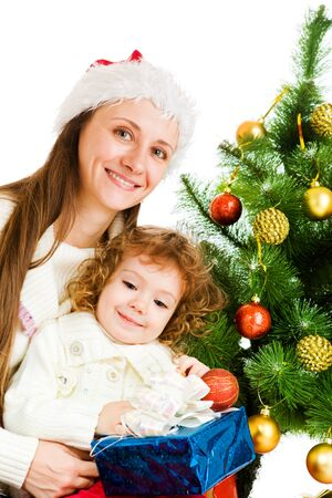 Mother and little daughter holding a present box Stock Photo - 7872207