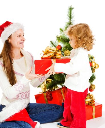 Mother and little daughter opening a present box Stock Photo - 7872188