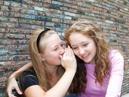 Teenage girl sharing secret with friend photo