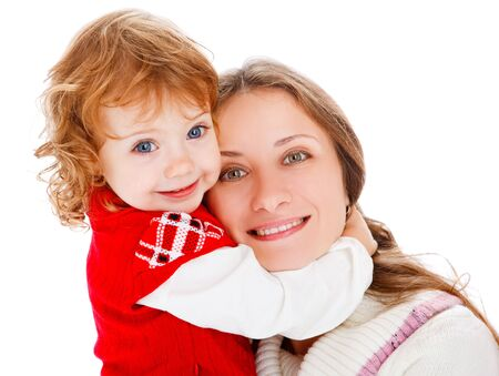 Mom and little girl laughing photo