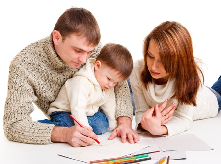 Parents drawing together with  their toddler son Stock Photo - 7955187