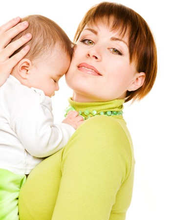 Proud young woman with baby in hands photo