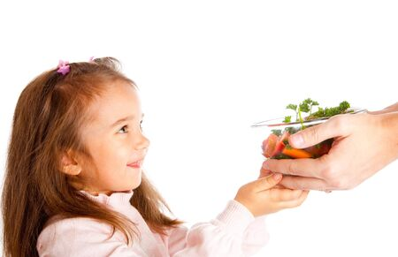Healthy food for a preschool girl photo