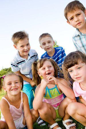 Preschool boys and girls laughing Stock Photo - 8013149