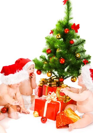 Christmas kids in santa hats photo