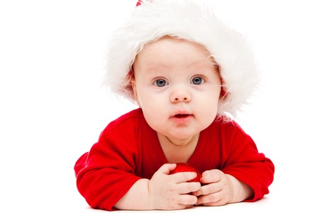 Portrait of a baby in Christmas hat photo
