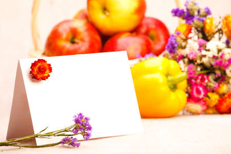 Blank greeting card with Thanksgiving background photo