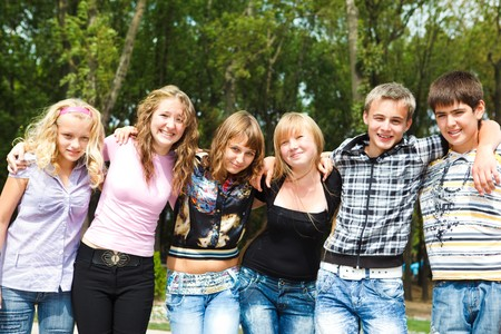 Group of cheerful college friends Stock Photo - 8168575